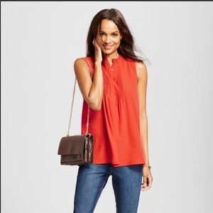A New Day Orange Pleated Front Sleeveless Top